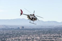 拉斯维加斯警察用直升机行动 库存图片