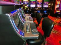 拉斯维加斯,美利坚合众国- 2016年5月07日:老虎机在佛瑞蒙赌博娱乐场 库存照片