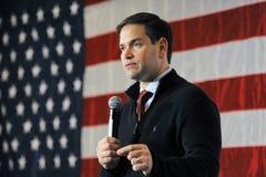 拉斯维加斯, NV - 12月14日:共和党总统候选人佛罗里达马克罗・鲁比奥参议员讲话在竞选集会期间在R 免版税库存图片