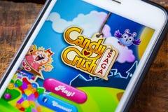 拉斯维加斯, NV - 9月22日 2016 - 糖果在App的易碎英雄传奇App 库存图片