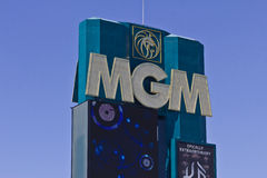 拉斯维加斯-大约2016年7月:MGM Grand旅馆的标志 这物产是米高梅手段国际性组织辅助者我 库存图片