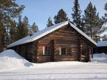 拉普兰原木小屋 库存照片