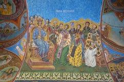 拉杜Voda修道院,外部壁画 图库摄影