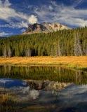 拉森火山的反射在Hat湖,拉森火山国家公园 免版税库存照片