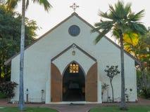 拉海纳,美国- 2015年1月7日:圣洁清白的人教会外部射击lahaina的 库存照片