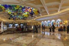 贝拉焦旅馆大厅在拉斯维加斯, 2013年3月13日的NV 库存图片