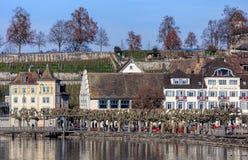 拉珀斯维尔镇的历史的部分在瑞士 免版税库存照片