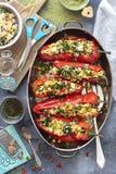 拉米罗胡椒充塞用扁豆、菠菜和希脂乳 免版税库存照片