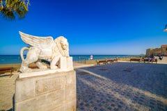 拉纳卡,塞浦路斯- 8月16 :在Foinikoudes p的飞过的狮子雕象 库存图片