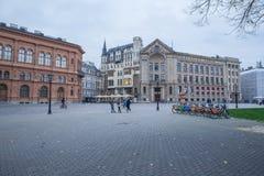 拉脱维亚、里加、老市中心、人和建筑学 2017年 图库摄影