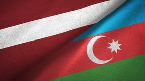拉脱维亚和阿塞拜疆两旗子纺织品布料,织品纹理 向量例证