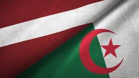 拉脱维亚和阿尔及利亚两旗子纺织品布料,织品纹理 皇族释放例证