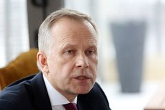 拉脱维亚州长Ilmars Rimsevics银行讲话在一次新闻招待会期间在里加,拉脱维亚, 2018年2月20日 库存照片