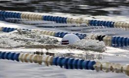 拉脱维亚游泳者在冬天游泳竞争中 图库摄影
