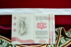 拉脱维亚状态的护照 免版税库存照片