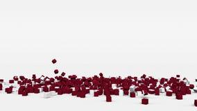 拉脱维亚的旗子从3d立方体创造了在慢动作 股票视频