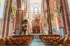 拉脱维亚,里加- 2017年6月10日:圣Pe大教堂的内部  免版税图库摄影
