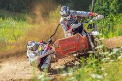 拉脱维亚, Cesis,世界冠军摩托车越野赛,边车,司机机智 免版税图库摄影