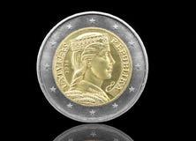 拉脱维亚人2欧元硬币 库存照片