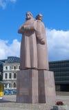 拉脱维亚步枪兵的苏联时代纪念碑在里加,拉脱维亚 免版税库存照片