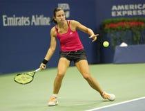 拉脱维亚的职业网球球员Anastasija Sevastova行动的在她的美国公开赛2016四分之一决赛比赛期间 免版税库存图片