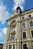 拉脱维亚的建筑学。在现代派样式的大厦。 免版税图库摄影