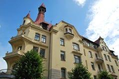 拉脱维亚的建筑学。在现代派样式的大厦。 库存照片