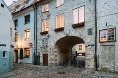 拉脱维亚里加 瑞典门门是一个著名地标 老曲拱 库存图片
