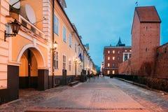 拉脱维亚里加 老著名雅各布` s营房门面在Torna街上的 库存图片