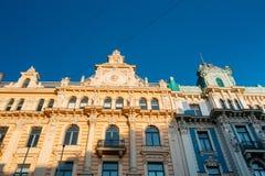 拉脱维亚里加 艺术米哈伊尔设计的Nouveau大厦爱森斯坦 免版税库存照片