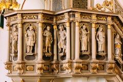 拉脱维亚里加 里加Dom圆顶大教堂教会的内部 装饰要素 图库摄影