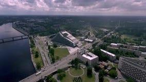 拉脱维亚,俯视图的国立图书馆 影视素材