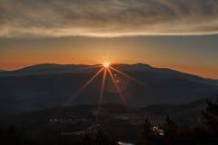 从拉莫利纳滑雪倾斜的日出 图库摄影