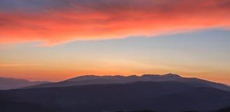 从拉莫利纳滑雪倾斜的日出 库存照片