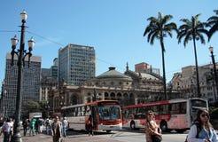 拉莫斯的de Azevedo Sq,圣保罗市政剧院 库存图片
