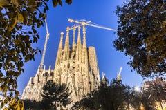 拉萨格拉达Familia大教堂由建筑师安东尼奥Gaudi,卡塔龙尼亚,巴塞罗那西班牙- 2018年5月16日的 库存图片