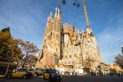 拉萨格拉达Familia -印象深刻的大教堂由Gaudi设计了,是修造从1882年3月19日和没被完成  库存照片
