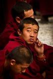 拉萨西藏的色拉寺辩论的修士 图库摄影