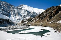 拉达克在冬天 冻印度河 Leh拉达克、查谟和Kahsmir, 免版税库存图片