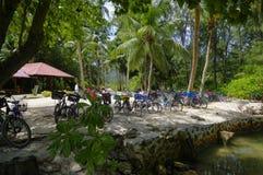 拉迪格岛海岛, Seychesses 库存图片