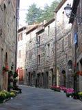 拉迪科法尼典型窄路在托斯卡纳,意大利 免版税库存照片