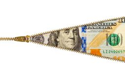 拉链一百元钞票 库存图片