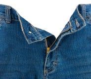 拉链特写镜头在蓝色牛仔裤的 库存照片
