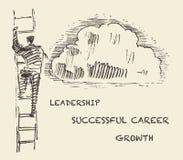 拉长的人上升的台阶成功的事业传染媒介 库存图片