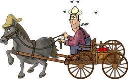 拉长的农夫他的马无盖货车 向量例证