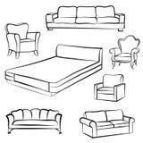 拉长的家具现有量例证集合白色 内部细节概述收藏:床,沙发, s 皇族释放例证