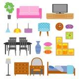 拉长的家具现有量例证集合白色 免版税库存图片