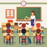 拉长的现有量查出的课程学校向量白色 小学生和老师 库存图片