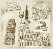 拉长的现有量罗马集 库存例证