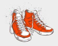 拉长的现有量运动鞋 免版税库存图片